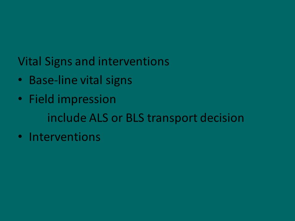 Vital Signs and interventions