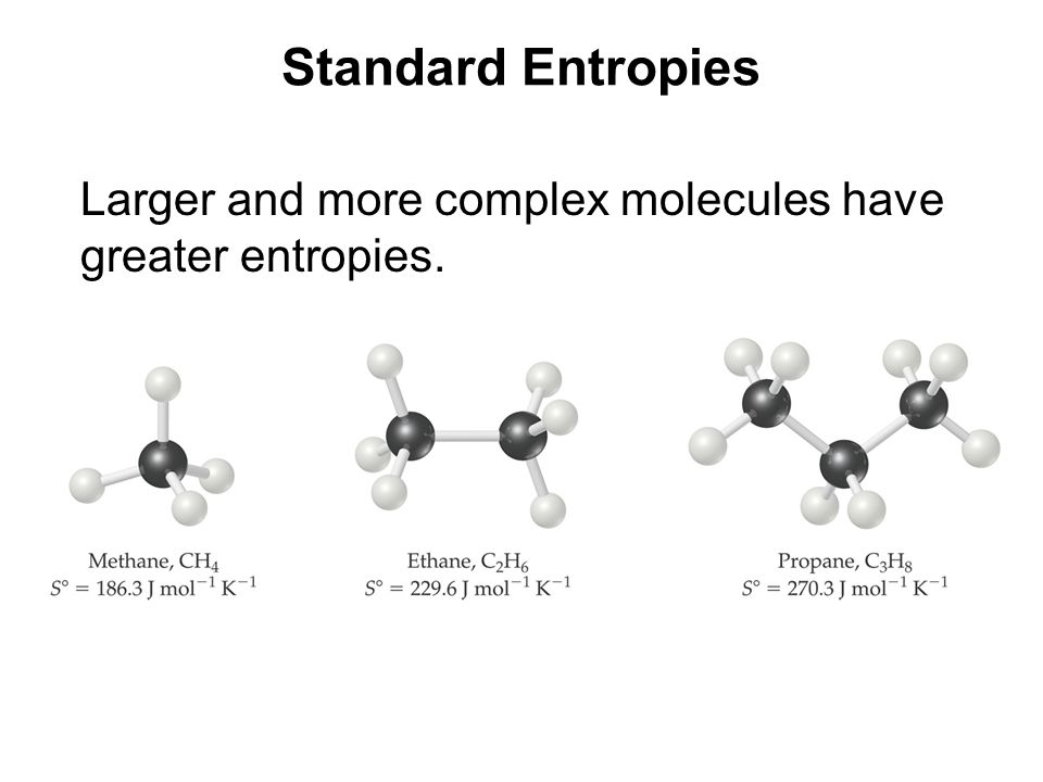 Standard Entropies Larger and more complex molecules have greater entropies.