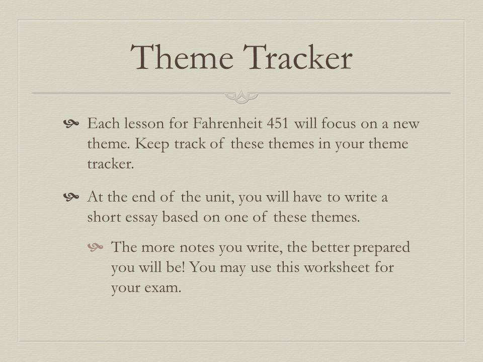 Theme Tracker Each Lesson For Fahrenheit 451 Will Focus On A New Keep Track: Fahrenheit 451 Worksheet At Alzheimers-prions.com