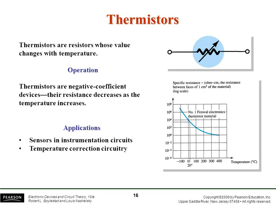 Thermistors Thermistors are resistors whose value changes with temperature. Operation.