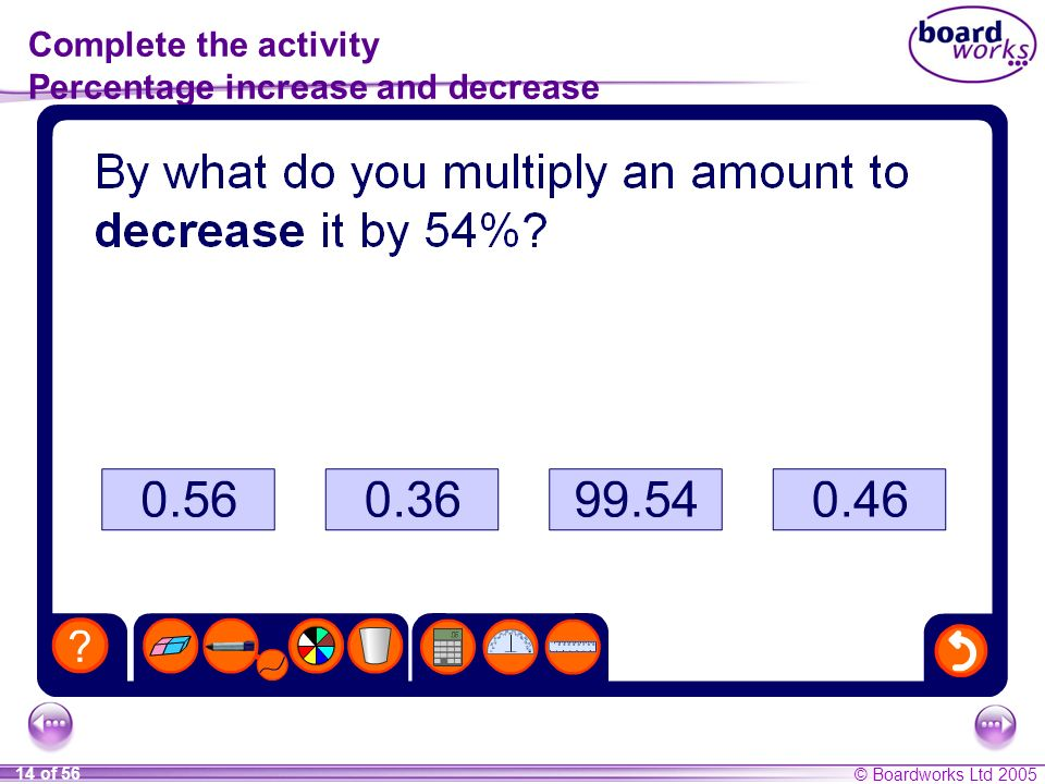 Complete the activity Percentage increase and decrease