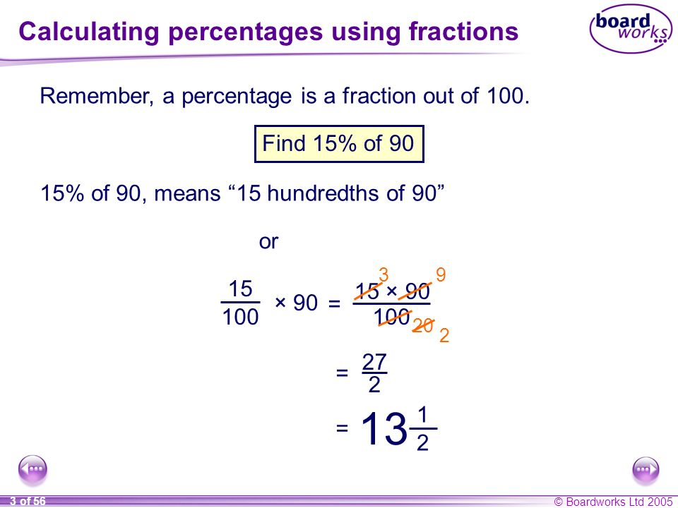 Calculating percentages using fractions