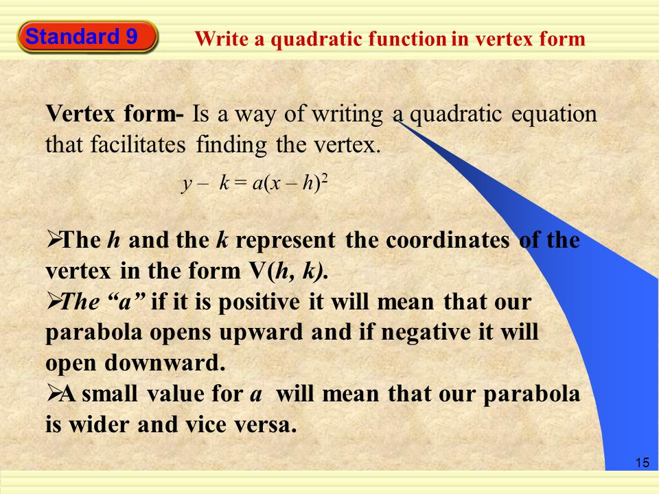 Standard 9 Write a quadratic function in vertex form. Vertex form- Is a way of writing a quadratic equation that facilitates finding the vertex.
