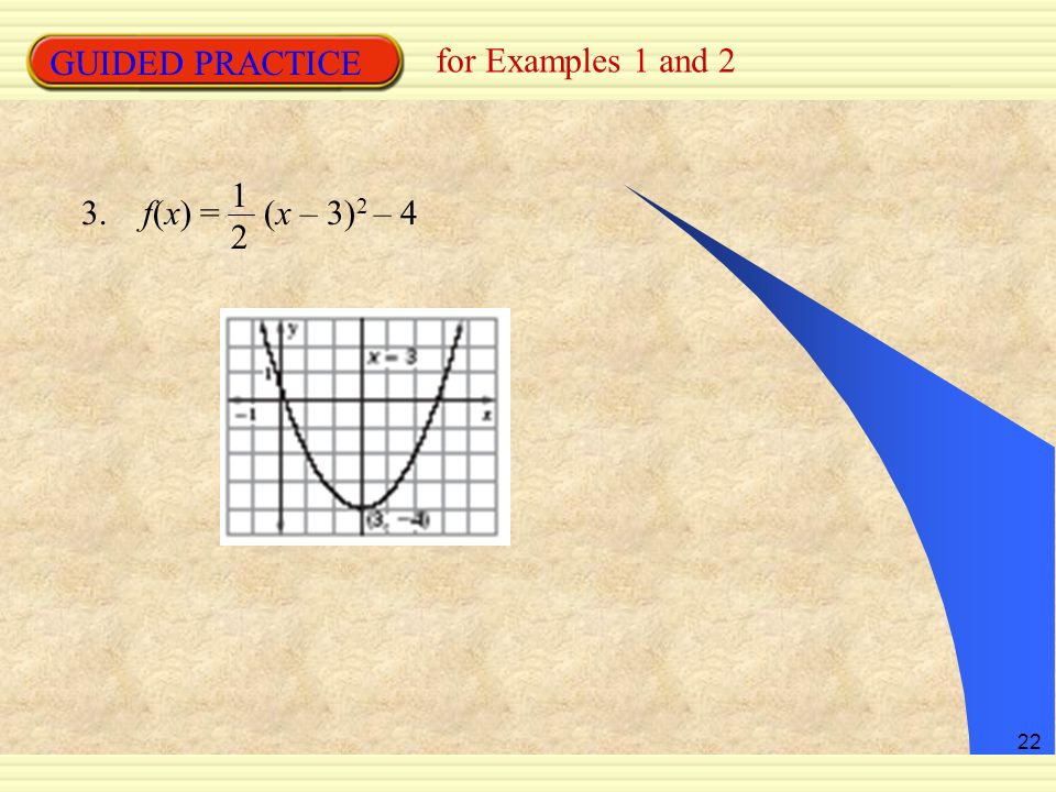 GUIDED PRACTICE for Examples 1 and 2 12 3. f(x) = (x – 3)2 – 4