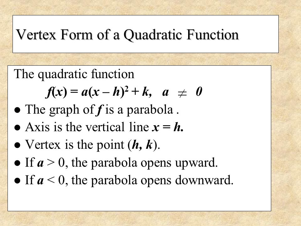 Vertex Form of a Quadratic Function