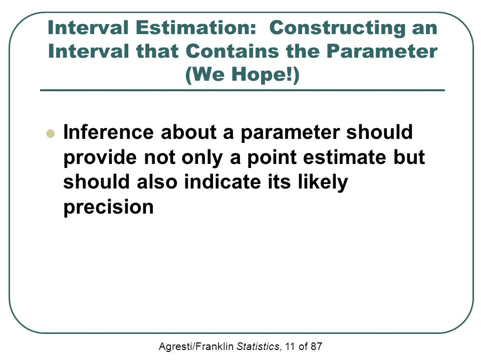 Interval Estimation: Constructing an Interval that Contains the Parameter (We Hope!)