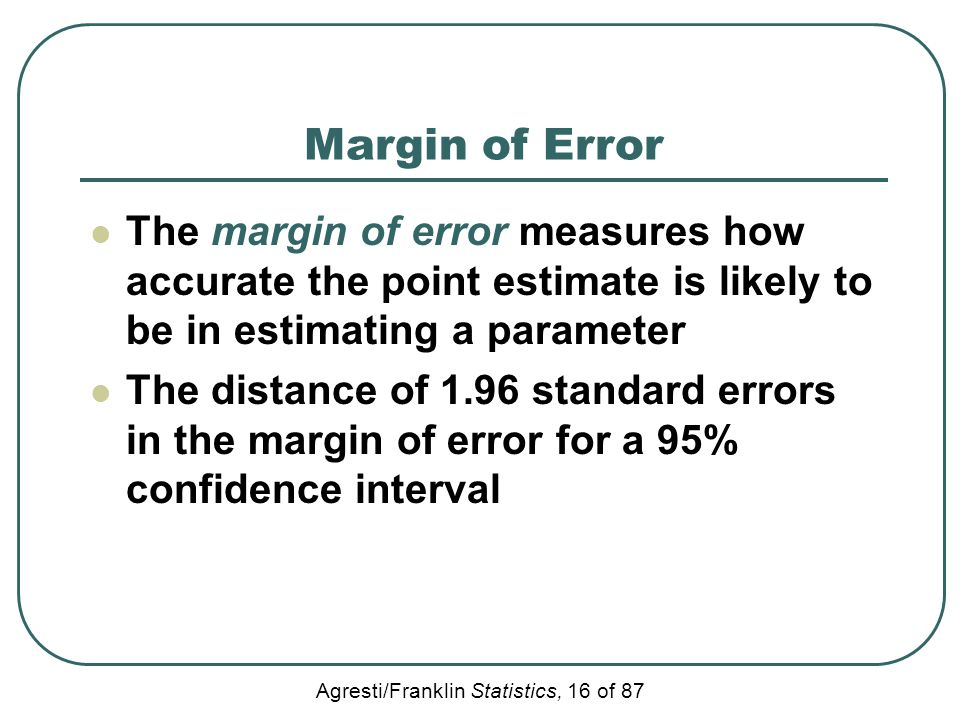 Margin of Error The margin of error measures how accurate the point estimate is likely to be in estimating a parameter.