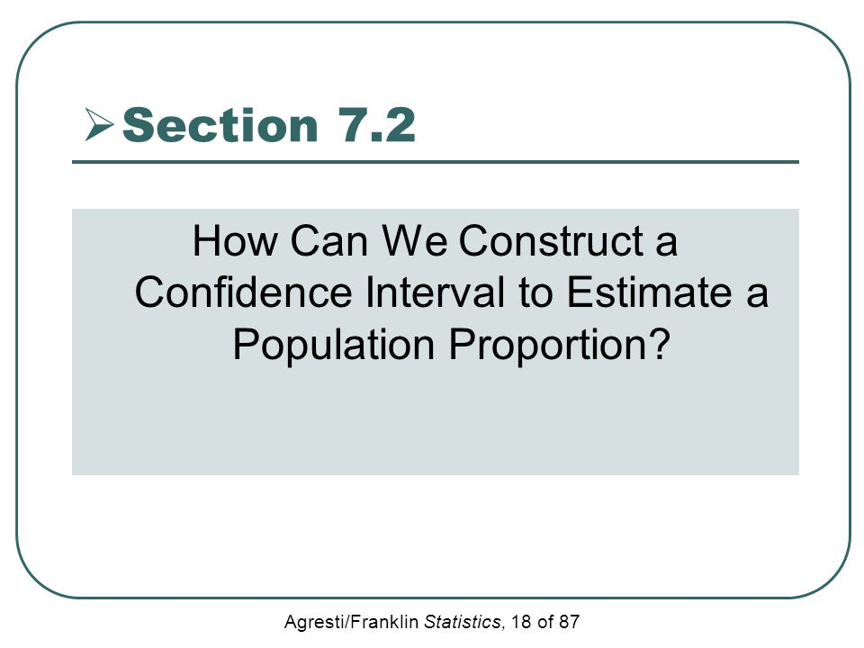 Section 7.2 How Can We Construct a Confidence Interval to Estimate a Population Proportion