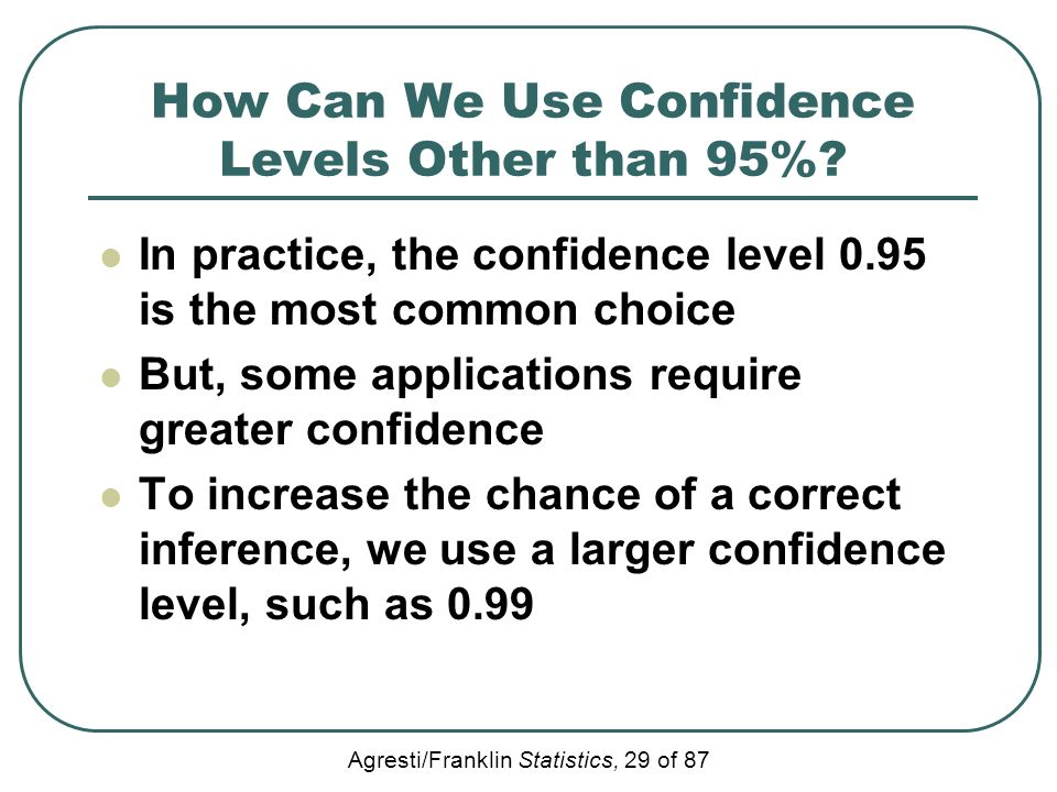 How Can We Use Confidence Levels Other than 95%