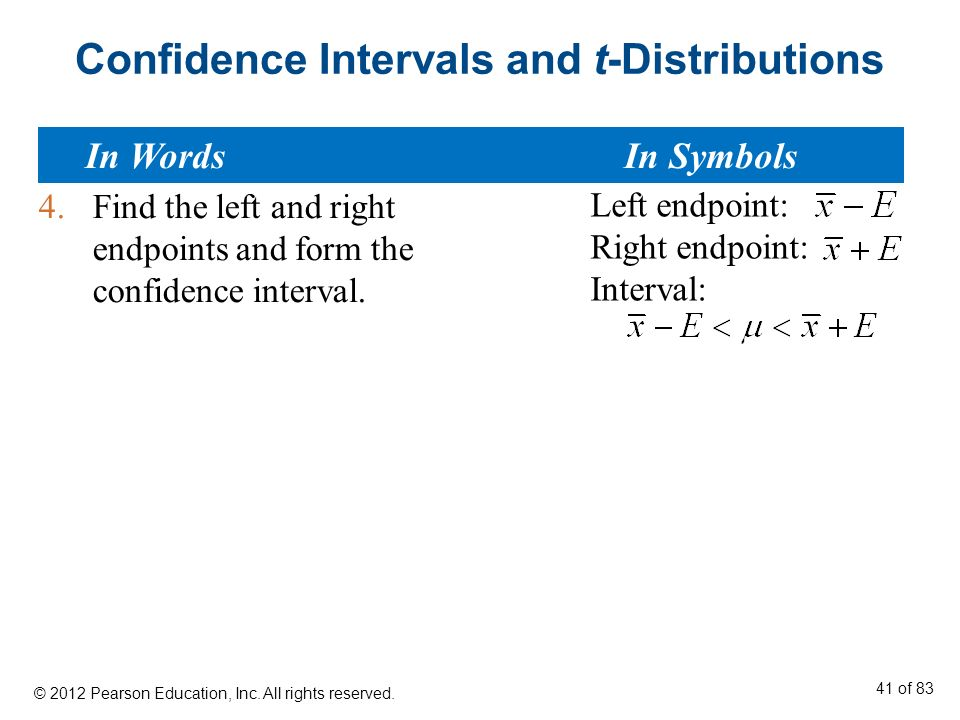 how to find endpoints of a t distribution