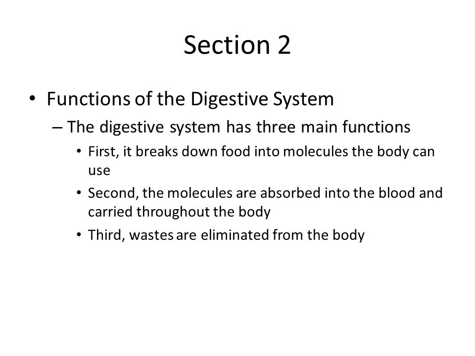 Section 2 Functions of the Digestive System