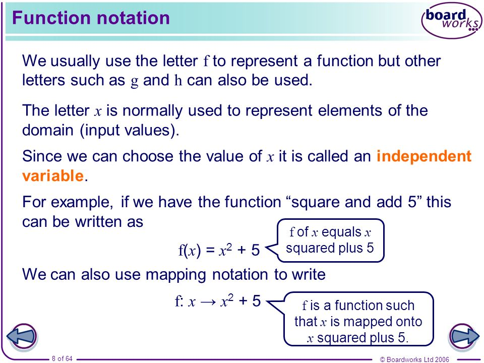 Function notation We usually use the letter f to represent a function but other letters such as g and h can also be used.