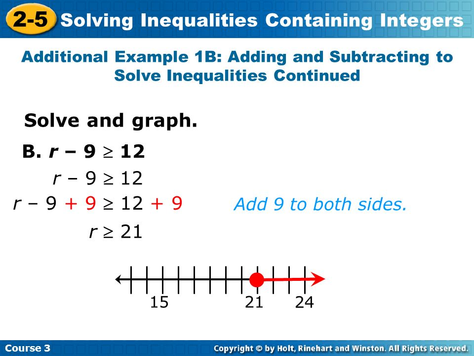 2-5 Solving Inequalities Containing Integers Solve and graph.