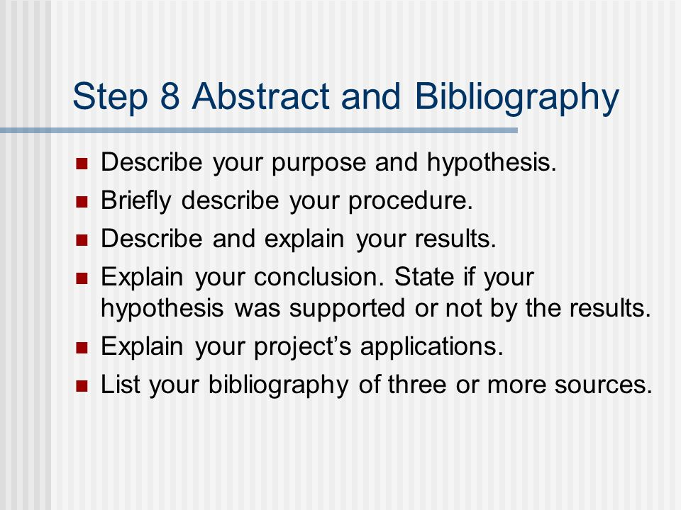 Step 8 Abstract and Bibliography