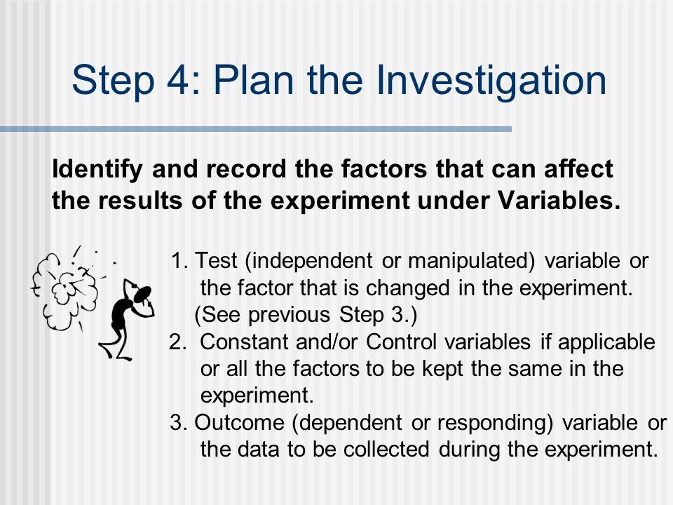 Step 4: Plan the Investigation