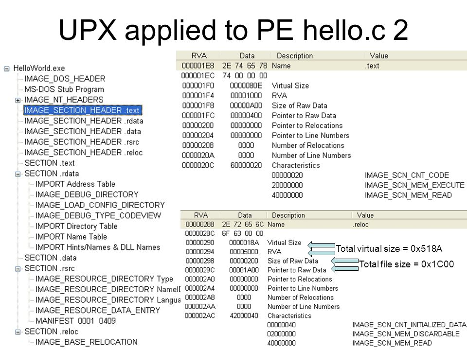 UPX applied to PE hello.c 2