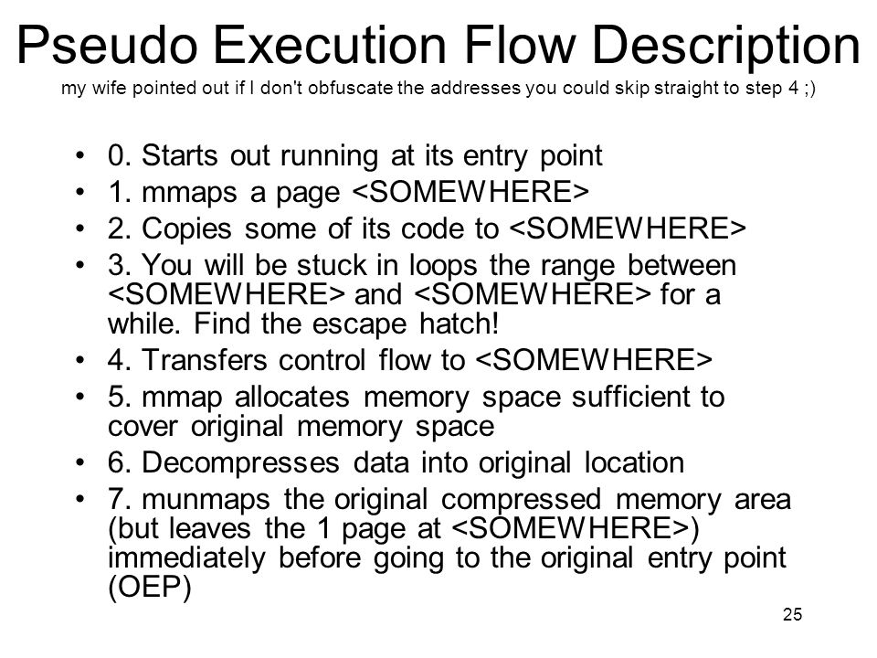 Pseudo Execution Flow Description my wife pointed out if I don t obfuscate the addresses you could skip straight to step 4 ;)