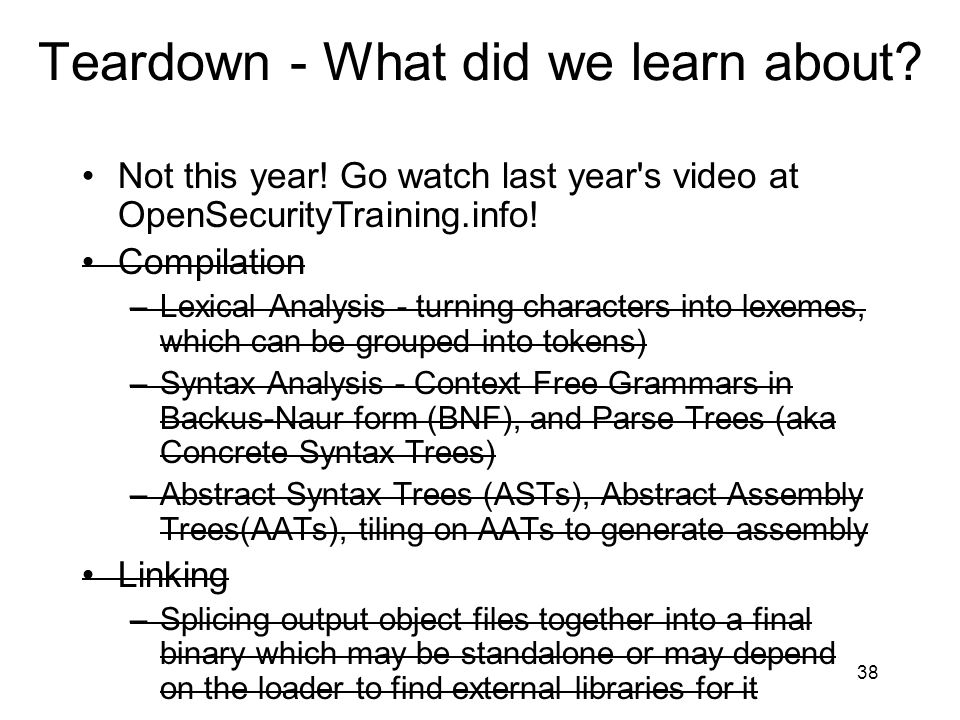 Teardown - What did we learn about