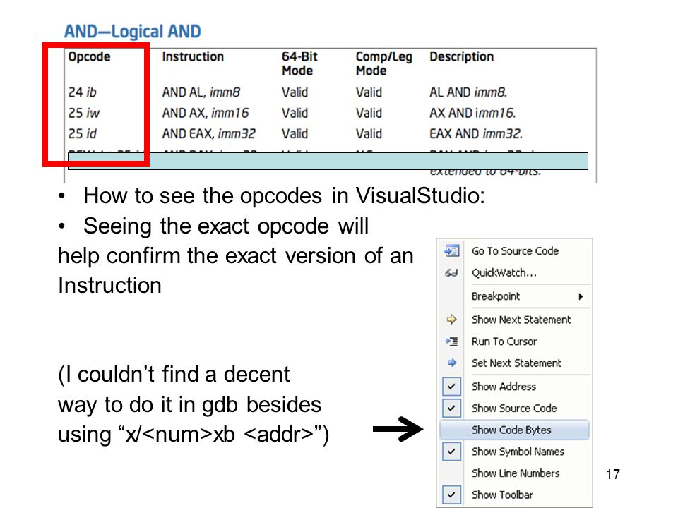 Opcode Column How to see the opcodes in VisualStudio: