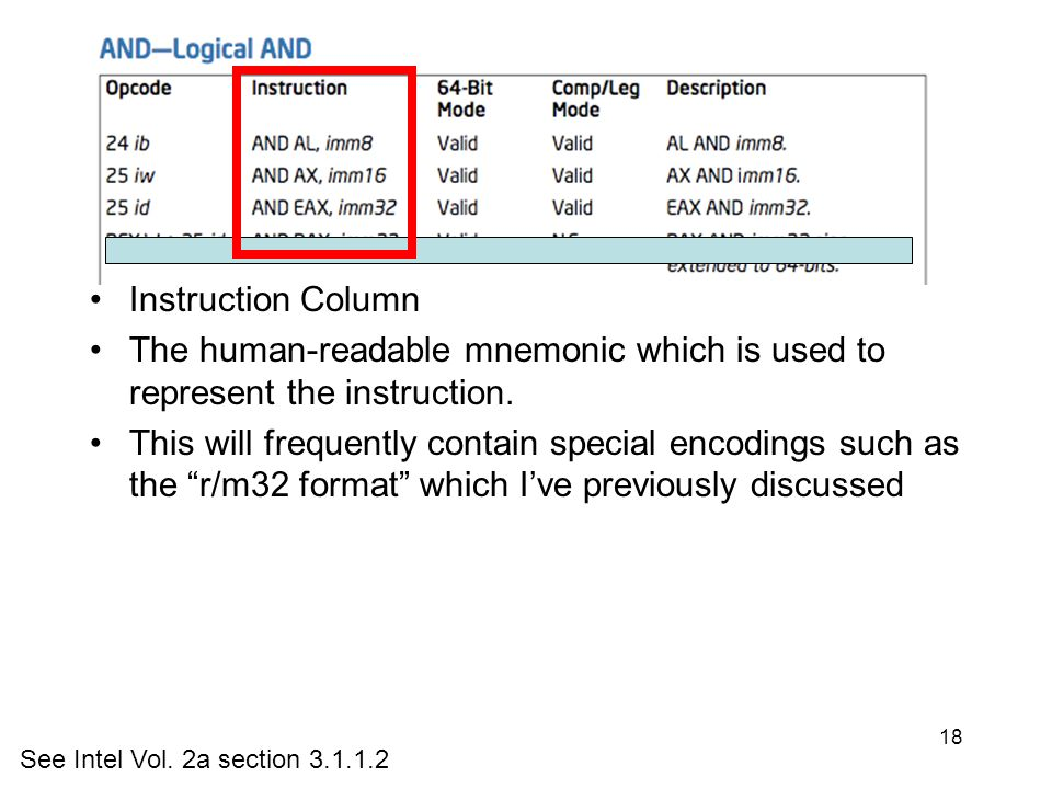 Instruction Column Opcode Column