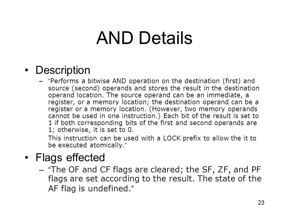 AND Details Description Flags effected