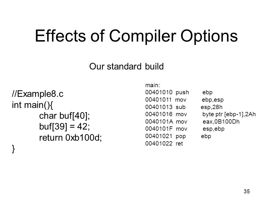 Effects of Compiler Options