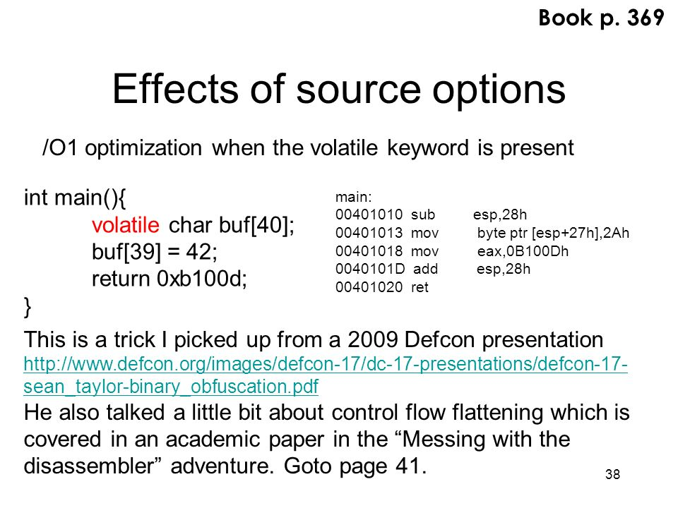 Effects of source options