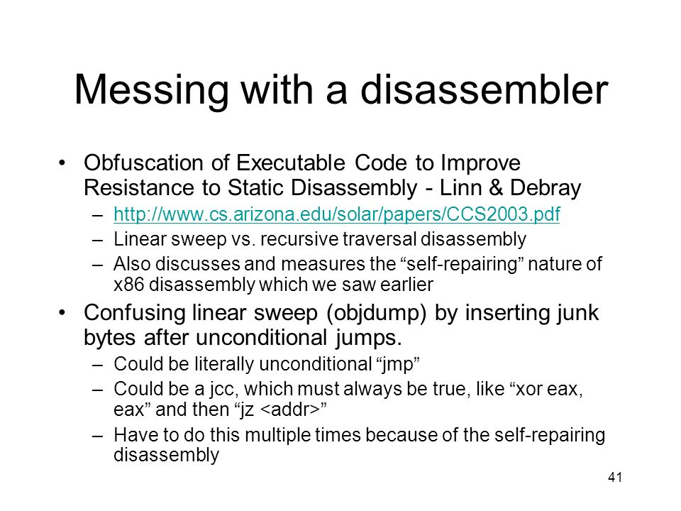 Messing with a disassembler