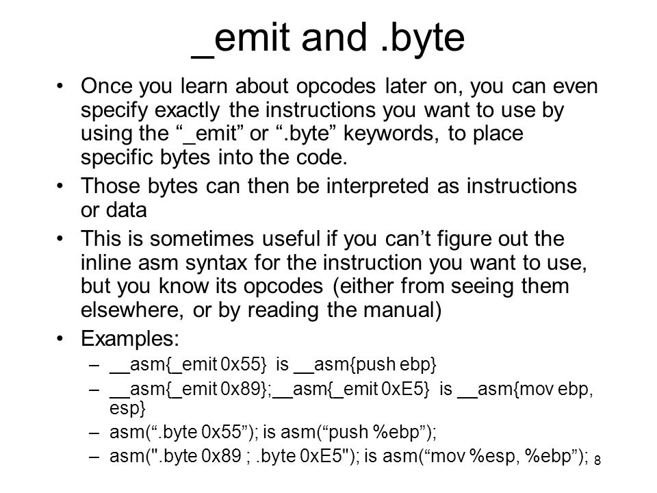 _emit and .byte