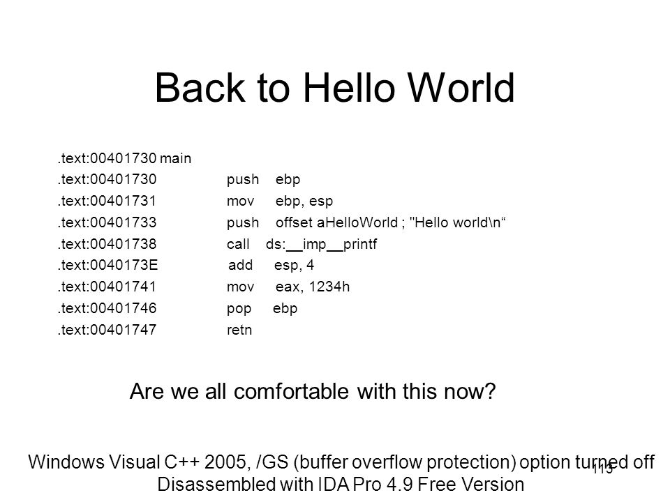 Back to Hello World Are we all comfortable with this now
