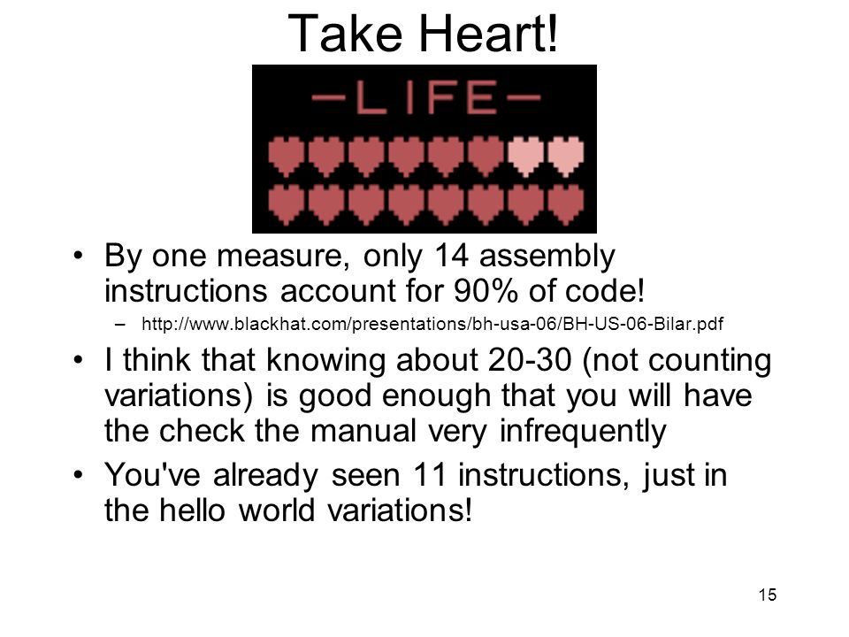 Take Heart! By one measure, only 14 assembly instructions account for 90% of code!