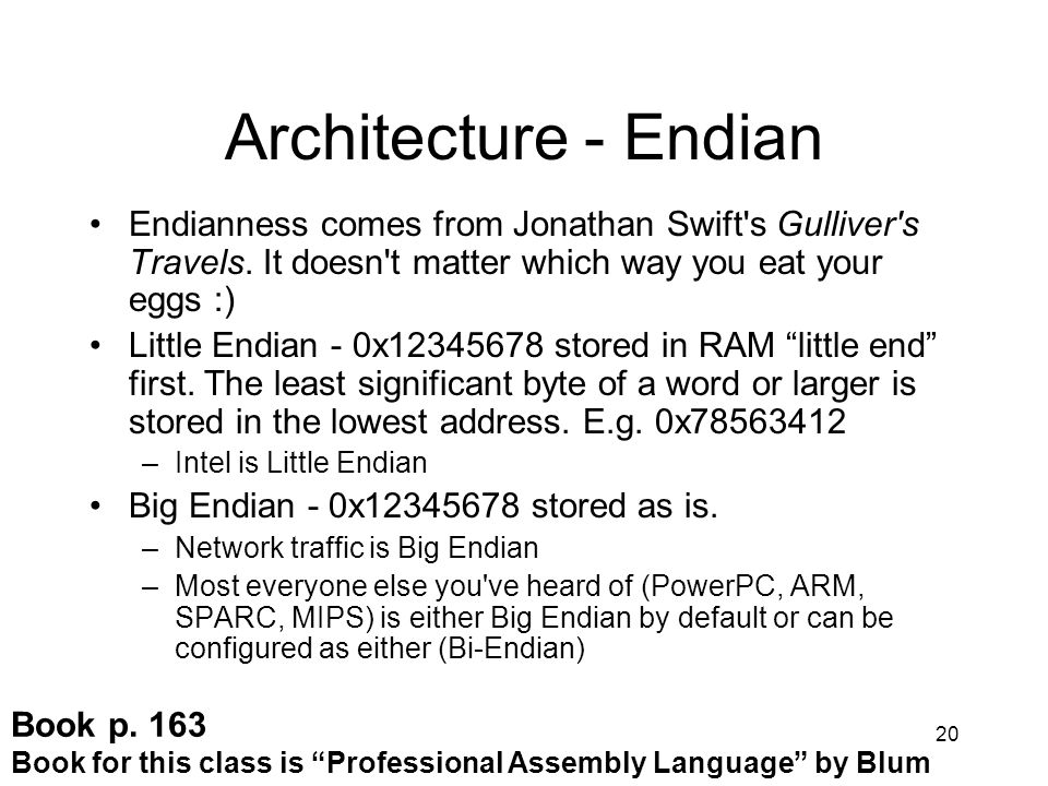Architecture - Endian Endianness comes from Jonathan Swift s Gulliver s Travels. It doesn t matter which way you eat your eggs :)