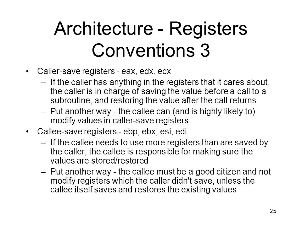 Architecture - Registers Conventions 3