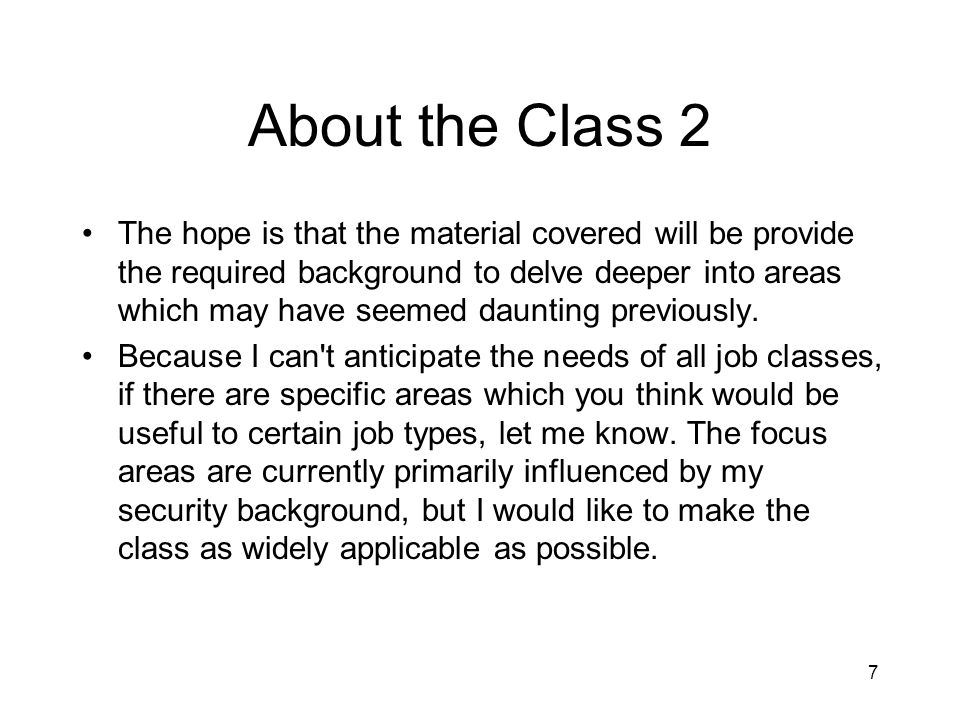 About the Class 2