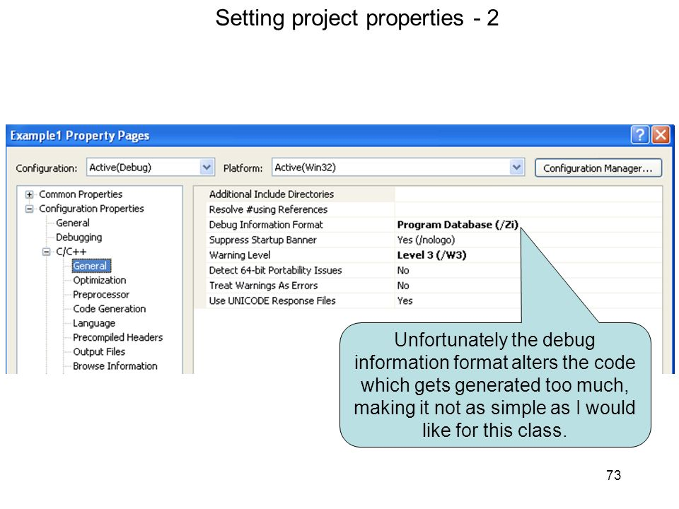 Setting project properties 2