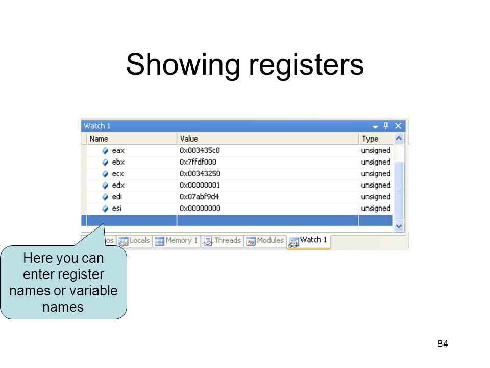 Here you can enter register names or variable names