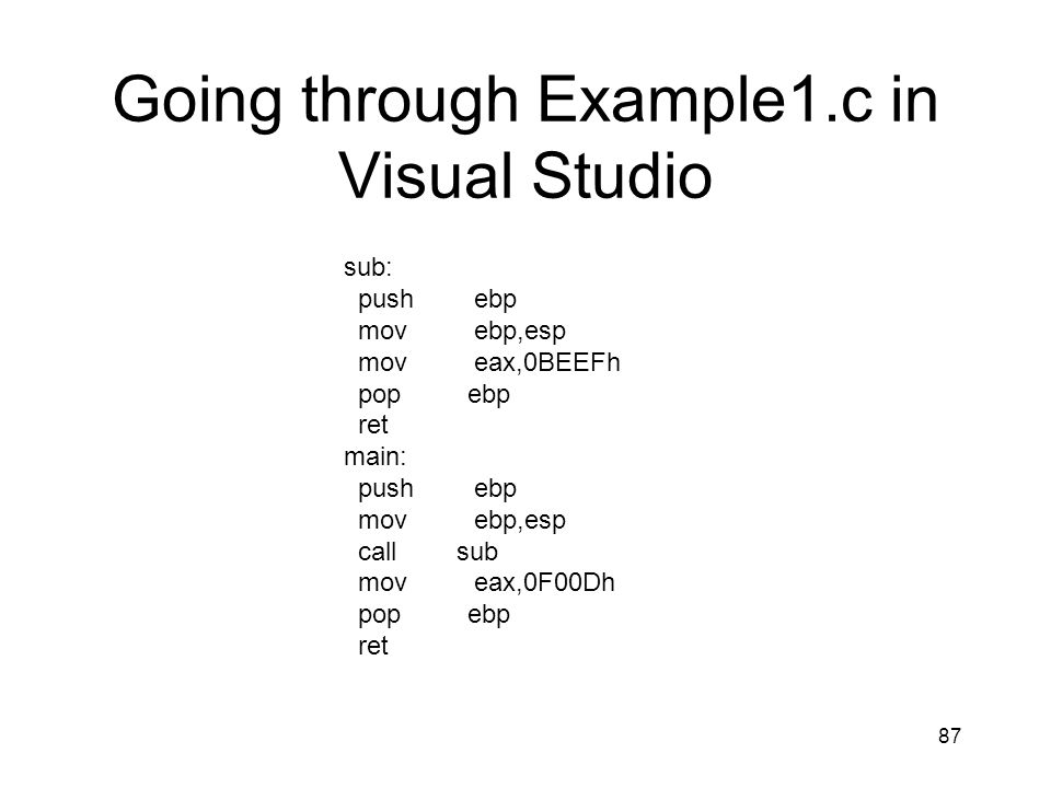 Going through Example1.c in Visual Studio
