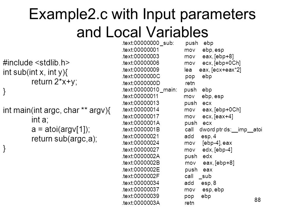 Example2.c with Input parameters and Local Variables