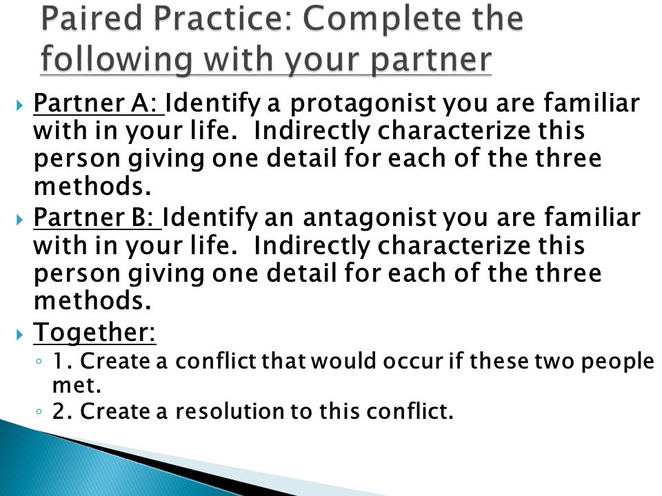 Paired Practice: Complete the following with your partner