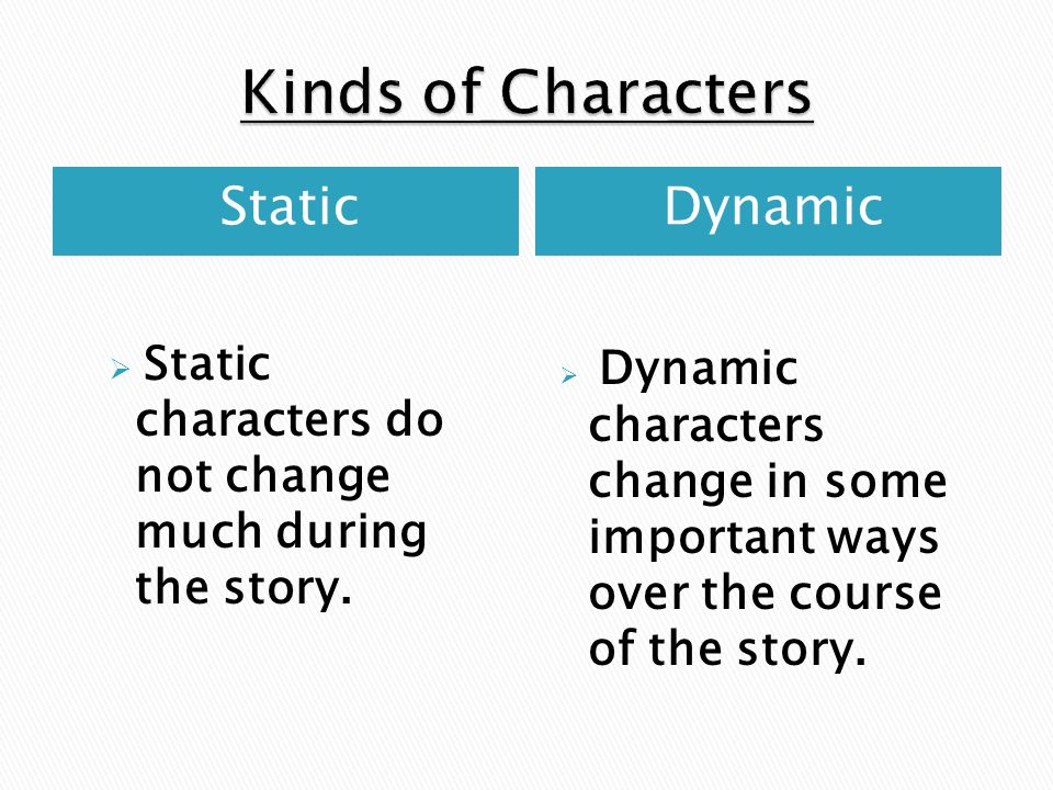 Kinds of Characters Static Dynamic