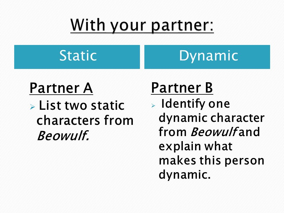 With your partner: Static Dynamic Partner A Partner B