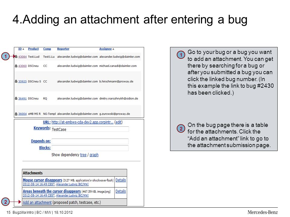4.Adding an attachment after entering a bug
