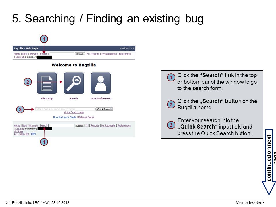 5. Searching / Finding an existing bug