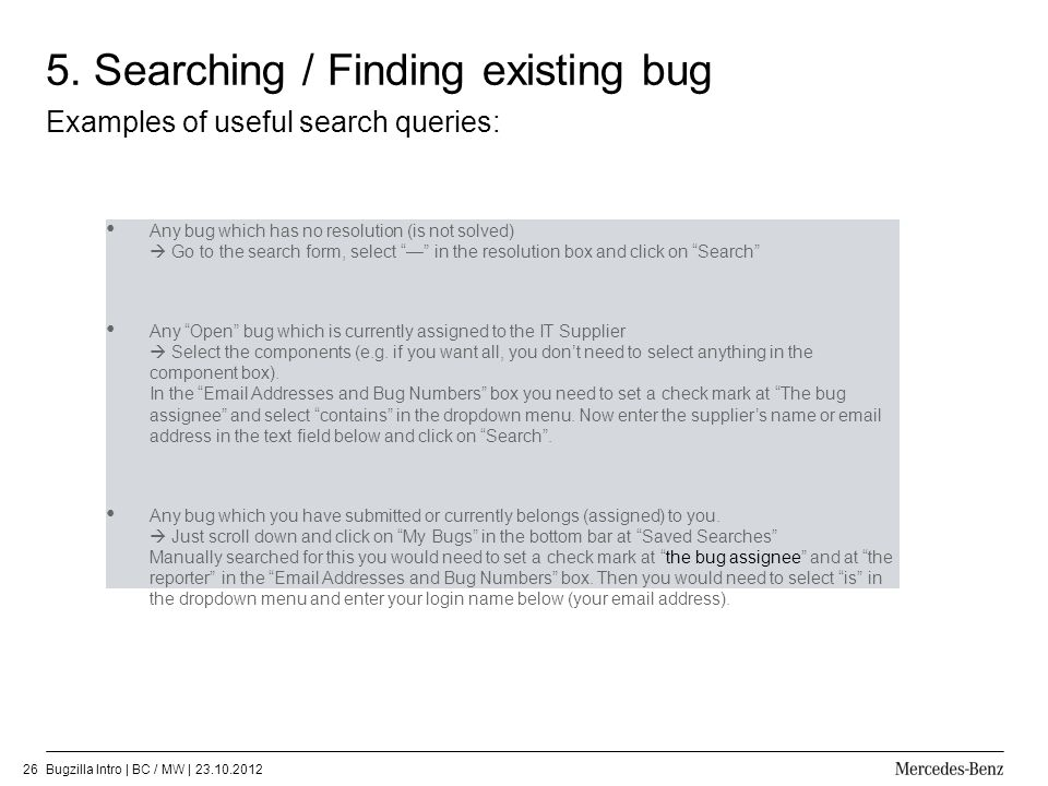 5. Searching / Finding existing bug
