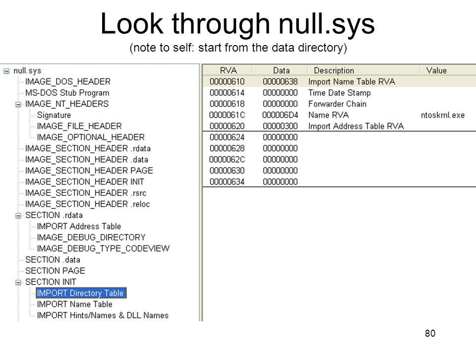 Look through null.sys (note to self: start from the data directory)