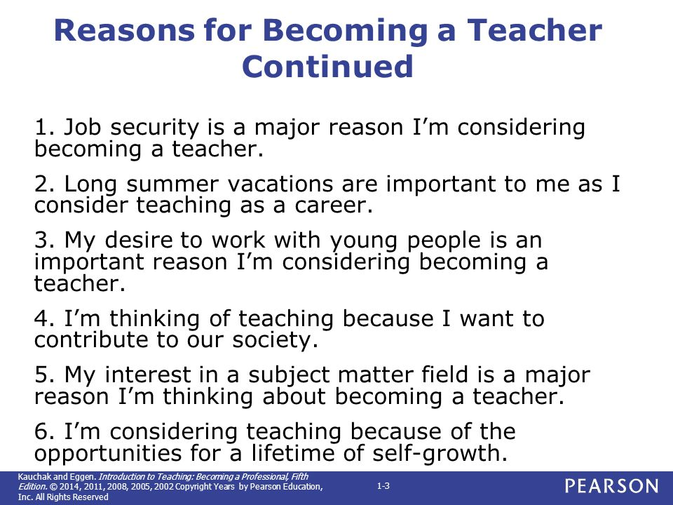 reasons for becoming a teacher continued