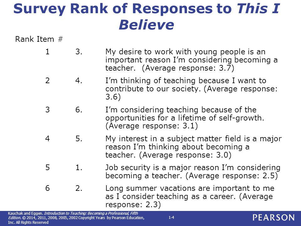survey rank of responses to this i believe