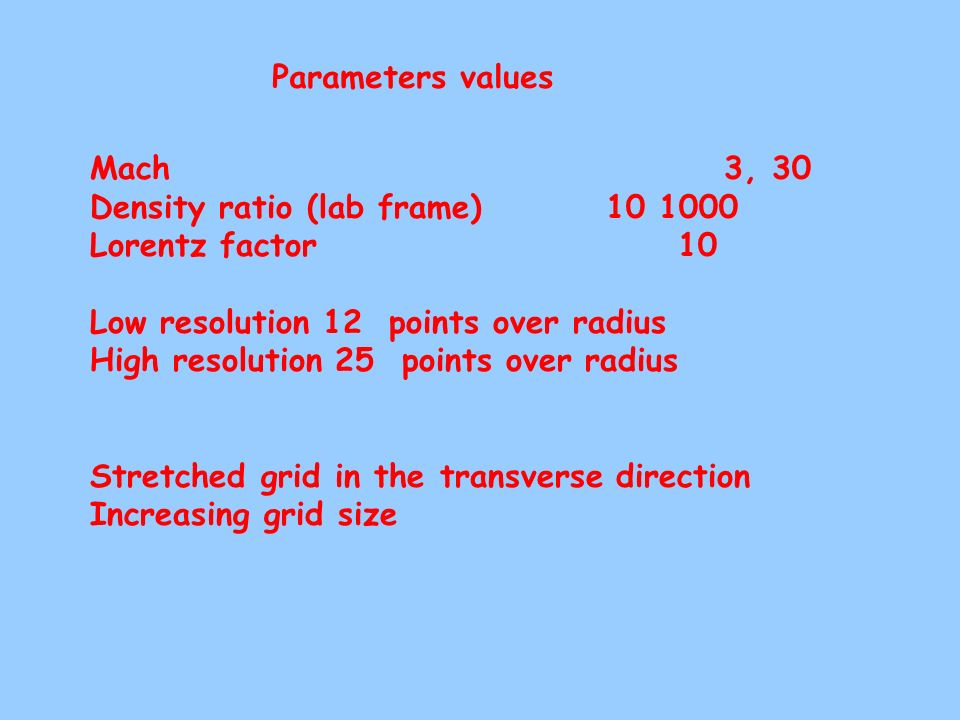 Parameters values Mach 3, 30. Density ratio (lab frame) 10 1000.