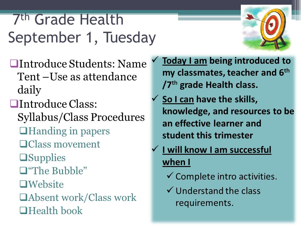 7th Grade Health September 1, Tuesday - ppt download