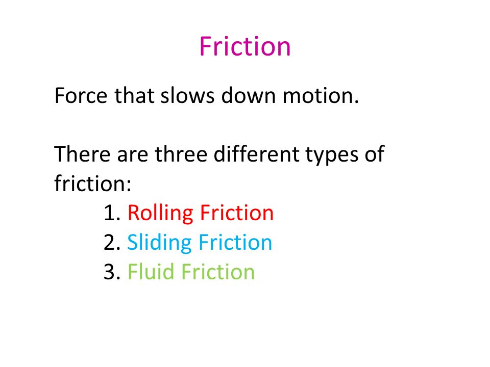 Friction Force that slows down motion.